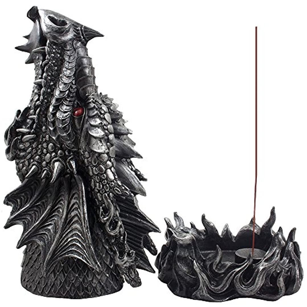 くつろぐ音楽を聴く資源Mythical Fire Breathing Dragon Incense Holder & Burner Combo Statue for Sticks or Cones with Decorative Display...