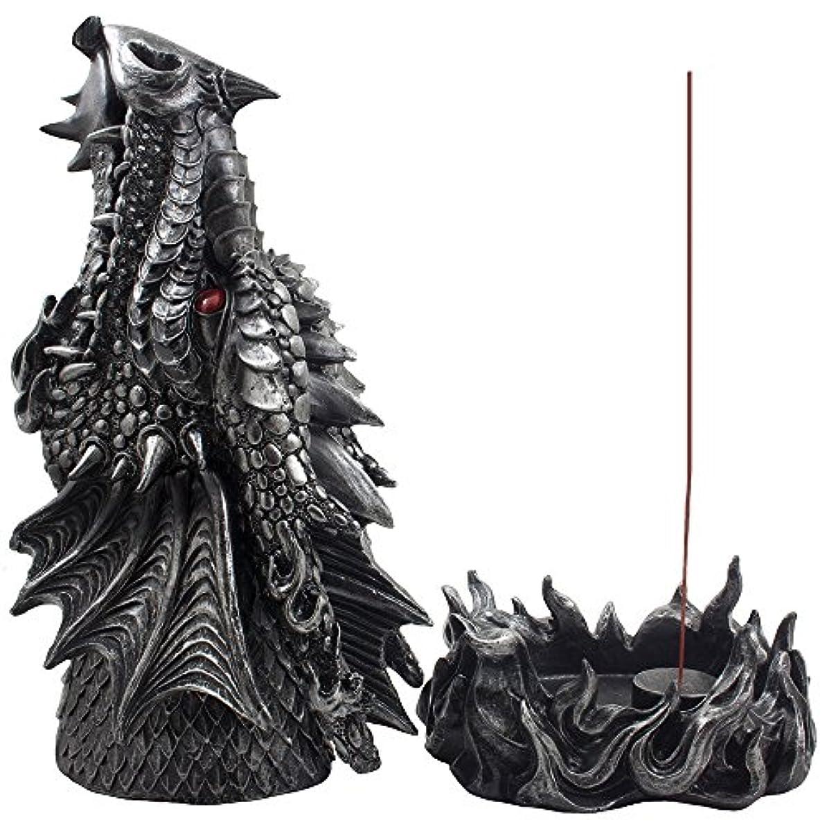 屋内保護する紫のMythical Fire Breathing Dragon Incense Holder & Burner Combo Statue for Sticks or Cones with Decorative Display...