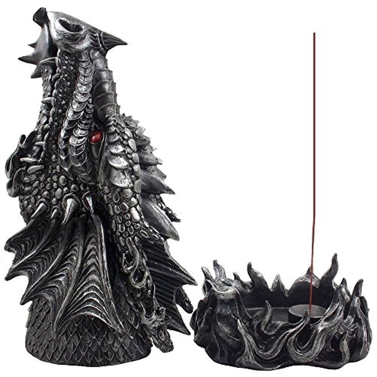 未亡人効果的面倒Mythical Fire Breathing Dragon Incense Holder & Burner Combo Statue for Sticks or Cones with Decorative Display...