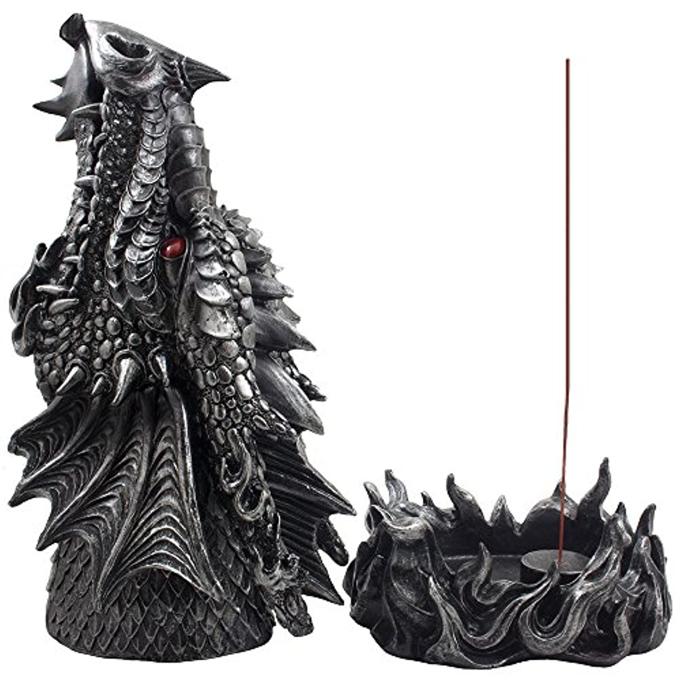 ファイルつぶやきキャップMythical Fire Breathing Dragon Incense Holder & Burner Combo Statue for Sticks or Cones with Decorative Display...