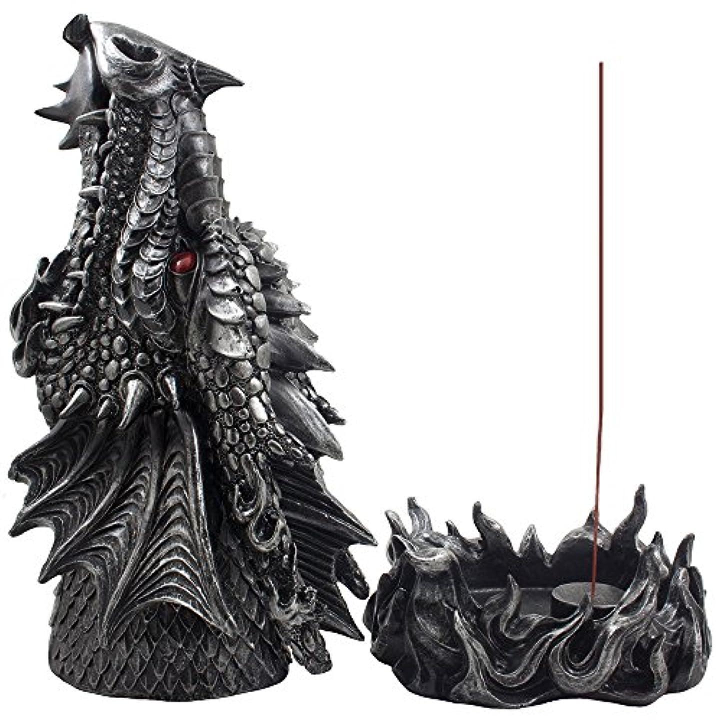 こんにちは好奇心盛心配するMythical Fire Breathing Dragon Incense Holder & Burner Combo Statue for Sticks or Cones with Decorative Display...