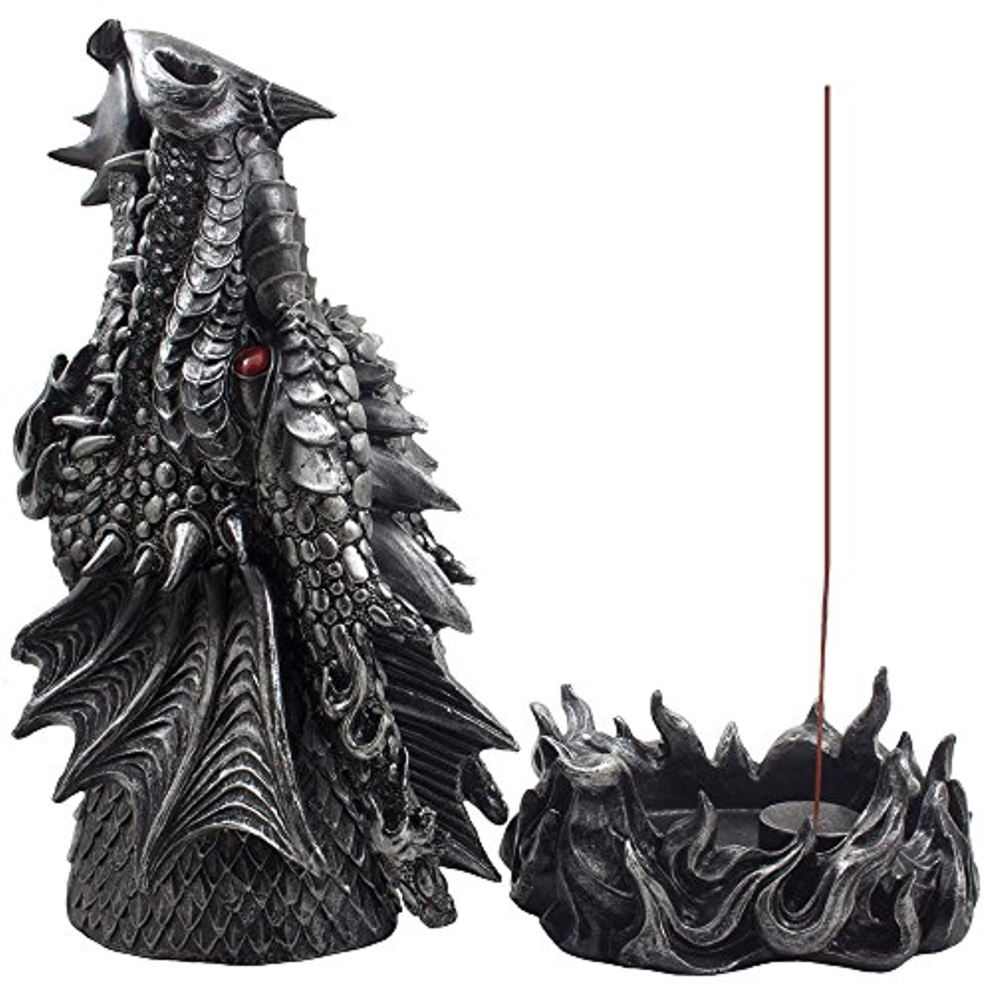 実装するおなじみのハンサムMythical Fire Breathing Dragon Incense Holder & Burner Combo Statue for Sticks or Cones with Decorative Display...