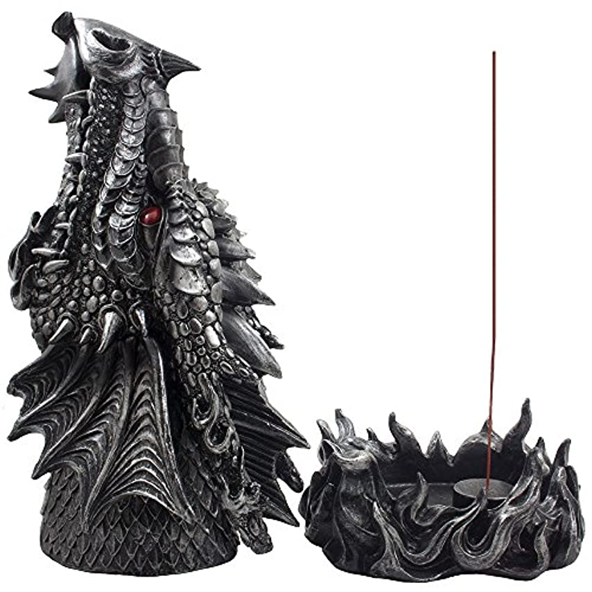 ダイアクリティカルミサイル支給Mythical Fire Breathing Dragon Incense Holder & Burner Combo Statue for Sticks or Cones with Decorative Display...