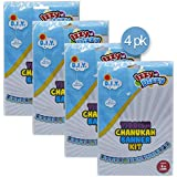イディッシュのチャヌカーバナーキット - 4パック - フクロウのカラー「Freilichen Chanuka Sign」 - 長さ6フィート - ハヌカアートとクラフトギフト & ゲーム Izzy 'n' Dizzy