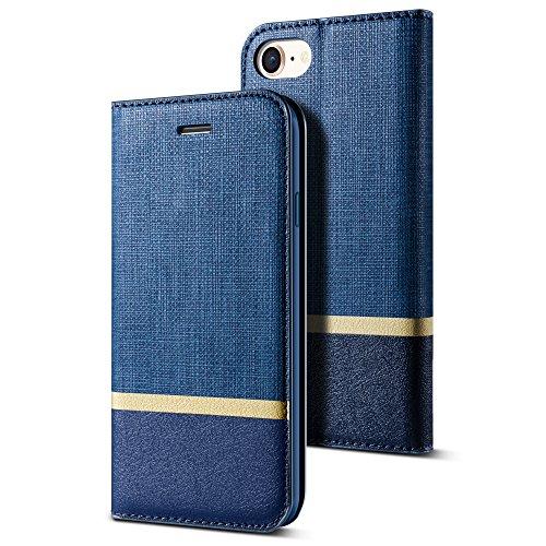 iPhone8ケース / iPhone 7 ケース Deamo 高品質 アイフォン8手帳型ケース アイホン7ケース 耐衝撃 マグネット式 iPhone8カバー / iPhone7 手帳型ケース (iPhone7・8共用, ブルー)