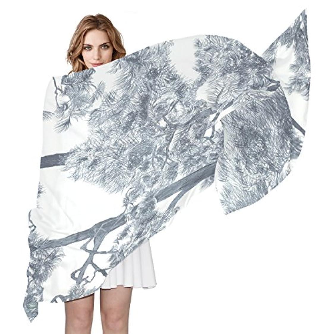 小石すぐにどこwdysecretホワイトツリーシルク印刷スカーフの女性70.86 X 35.4 ( in )