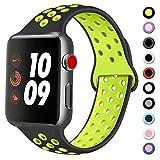 Vancle コンパチブル Apple Watch バンド 38mm 42mm 40mm 44mm シリコンバンド アップルウォッチバンド 柔らかスポーツ 交換ベルト Apple Watch Series 5/4/3/2/1に対応 (38mm/40mm-M/L, 03 黒/緑)
