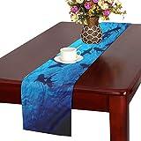 KDGCH テーブルランナー 海でクールな生き物サメ クロス 食卓カバー 麻綿製 欧米 おしゃれ 16 Inch X 72 Inch (40cm X 182cm) キッチン ダイニング ホーム デコレーション モダン リビング 洗える