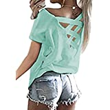 Halife Women's Criss Cross Backless Tunic Shirts Boat Neck Short Sleeve Casual Blouses Tops