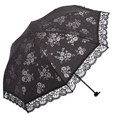 IGAWA 折り畳み日傘 レディースロース傘 晴雨傘日焼け止め UVカット98% UPF></p>40+ (UVA)AV<5% 遮光 紫外線防止 晴雨兼用 超軽量220g 8本骨 直径86cm 婦人傘 花柄模様