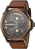 Policeメンズ50mmブラウンレザーバンドスチールケースクォーツアナログ腕時計14538jsbn65a