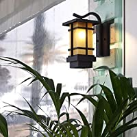 屋外用ウォールライトノルディックスクエア防水屋外用錬鉄製の壁ライトクリエイティブつや消しガラス中庭ガーデン風景の壁ランプ、E27ランプソース、ホワイト, WOZUIMEI