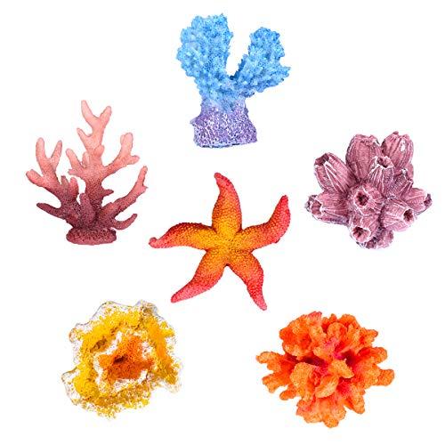 UEETEK 水槽装飾 人工珊瑚 サンゴ ヒトデ 6点セット 水中植物 水族館 アクアリウム オーナメント 隠れ家 アクアリウム内装