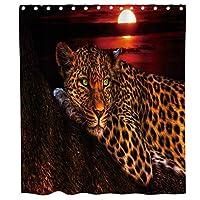 アフリカのサファリ野生動物アニマルヒョウ素朴なテーマファブリックシャワーカーテンセットフック付き浴室の装飾防水洗える70 Xブラックレッドとブラウン 180X180 CM