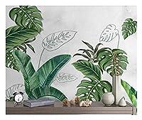 カスタマイズされた大規模な3D壁画壁紙新鮮な北欧植物手描きの葉熱帯背景の壁-280X200CM