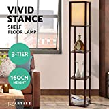 Artiss Floor Lamp Vintage Reading Light Stand Wood Shelf Storage Organizer Home Brown