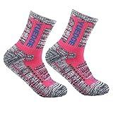 YUEDGE 2足入女性靴下多機能アウトドアスポーツソックス 遠足 徒歩オフロード 登山用靴下 トレッキング 通気吸湿速乾(ピンク)