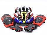 (エムズダイス)M's Dice 子供用 軽量 ヘルメット & プロテクター 3点 セット ( 手首 / ひじ / ひざ パッド ) 自転車 サイクリング スケボー などに 5~12歳 (05.イーグル)