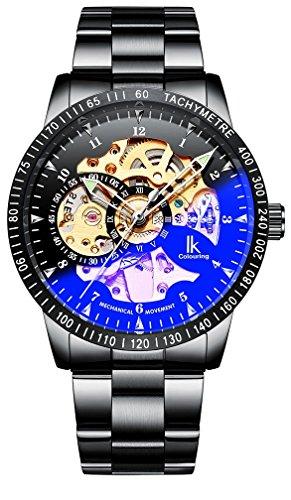 IK Colouring 腕時計 スケルトン ブラックバンド 自動巻き IH009 メンズ