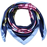 """35"""" Ladies Satin Square Silk Like Hair Scarves and Wraps Headscarf for Sleeping Navy Blue Rose Flowers"""
