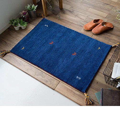 玄関マット 室内 屋内 用 ギャベ SW01 ブルー 約 60х90 cm オアシス デザイン 幾何学模様 ピュア ニュー ウール 新毛使用 ウールマーク.