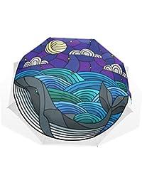 AOMOKI 折り畳み傘 日傘 折りたたみ傘 手開き 三つ折り 梅雨対策 晴雨兼用 UVカット 耐強風 8本骨 男女兼用 鯨 海 アニマル 月 幾何学