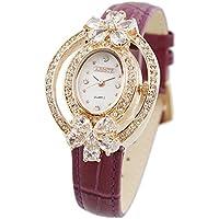 [アビステ]ABISTE オーバル型フラワークリスタル型押しベルト腕時計 9170023 (パープル)
