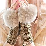 ニット 手袋 レディース 指なし アームウォーマー フェイクファー かわいい スマホ手袋 長い グローブ 防寒 冬
