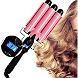 Hair Curler 3 Barrel Curling Hair Waver Iron Curling Wands Quick Heated Fast Heating Ceramic Hot Tools Professional Hairstyle Long Hair with LCD Temperature Display For Salon Home Travel