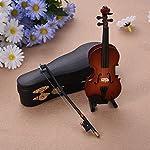 Hjuns ミニチュア楽器 ドールハウス ケーススタンド付き バイオリン コントラバス 楽器 木製