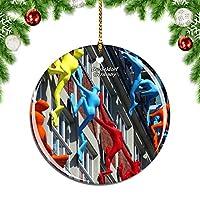 Weekinoドイツデュッセルドルフクリスマスデコレーションオーナメントクリスマスツリーペンダントデコレーションシティトラベルお土産コレクション磁器2.85インチ