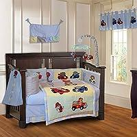 Animal Zoom Car Racing Baby 10 Piece Crib Bedding Set [並行輸入品]