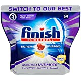 Finish Powerball Quantum Ultimate Dishwasher Tablets Superior Clean, Lemon, 64 Pack