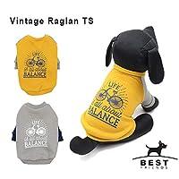 Best Friends ヴィンテージラグランTS 犬服 ドッグウェア Tシャツ トレーナー SM グレー