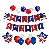 独立記念日パーティーデコレーションセット 7月4日バナー 星型アメリカ国旗バルーン マルチカラーバルーン ハンギングポンポン装飾