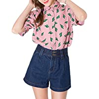 HAOYIHUI Women's Cactus Print Short Sleeve Peter Collar Shirt Top
