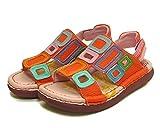 エスタシオン コンフォートサンダル スクエアモチーフ 本革 靴 No.TGE503 (L(24.0~24.5cm), ピンクマルチ)