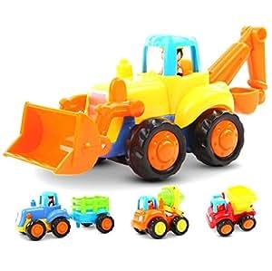 Lukat  建設車両 ミニカー ルバックカー トラック タンプカー ミキサー車  男の子向き おもちゃ 砂場車 工事車両 玩具慣性車 ABS素材 子供 diy 1歳2歳3歳(4点セット)