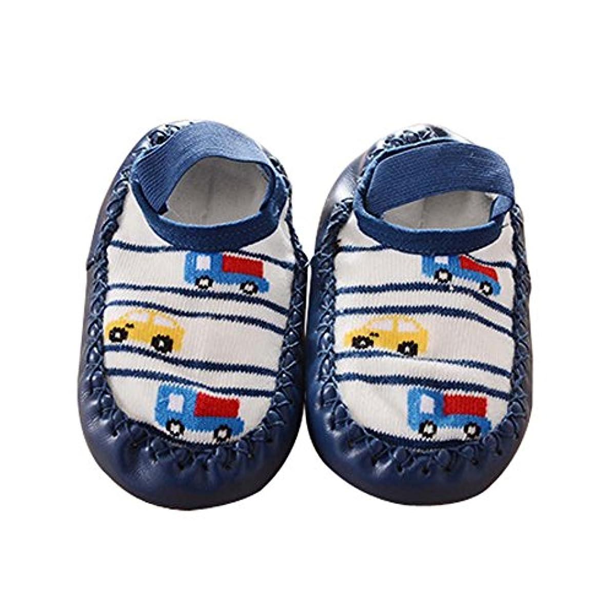ジェスチャー好奇心自動車幼児の赤ちゃん漫画厚くて暖かい滑り止めフロアソックス1ペア、ダークブルー