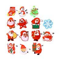 50PCS Christmas Flashing Brooch Pins LED Brooch Kids Party Supplies Flashing Light Brooch (Style Mixed) Unisex