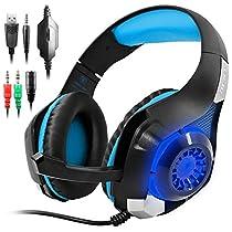 AFUNTA ps4 ヘッドセット GM-1 ゲーミングヘッドセット PC用ヘッドフォン マイク付き ブラック&ブルー