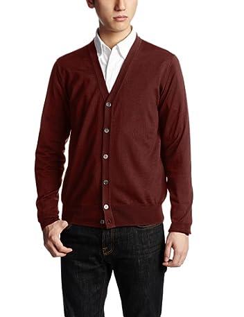 16-gauge Wool V-neck Cardigan 13080300500130: Wine