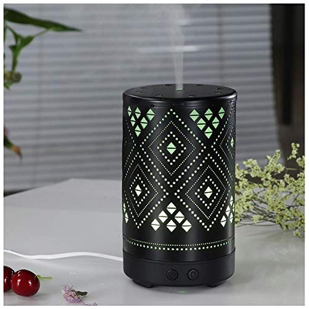 エッセンシャルオイルディフューザー超音波加湿器100ミリリットルポータブルアロマディフューザー、7種類のLED寝室アクセサリーナイトライト