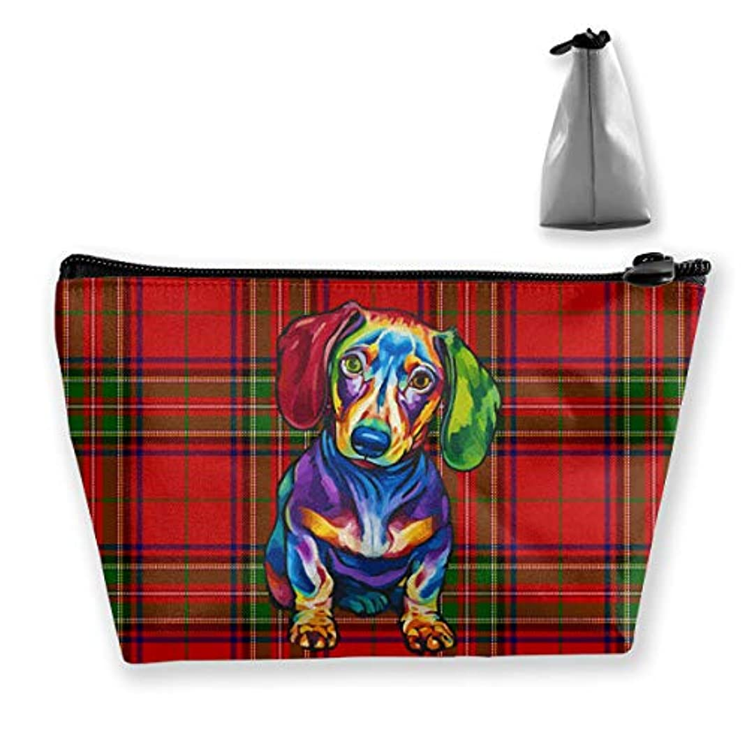 クリープ一接ぎ木Szsgqkj 赤いスコットランドの柄 猟腸犬 化粧品袋の携帯用旅行構造の袋の洗面用品の主催者
