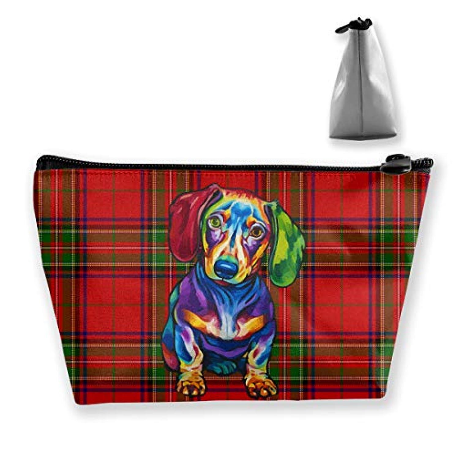 夕暮れ傘がっかりするSzsgqkj 赤いスコットランドの柄 猟腸犬 化粧品袋の携帯用旅行構造の袋の洗面用品の主催者