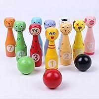 HuaRui おもちゃ キッズ スポーツ 動物ボウリング カラフルボーリングセット 知育玩具 木製