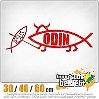 Odin fish - 3つのサイズで利用できます 15色 - ネオン+クロム! ステッカービニールオートバイ