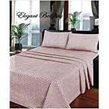 4 PCS Printed Queen Size Cotton Bed-Sheet Set (1 Fitted Sheet+1 Flat Sheet+2 Pillow Cases)-Brown/Chocolate