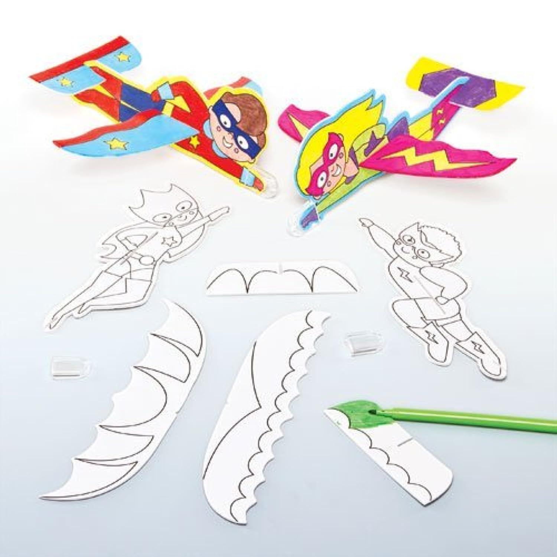 スーパーマン?ぬりえ 組み立てグライダー(8枚入り)塗って、組み立てて簡単、楽しい!ポリスチレン