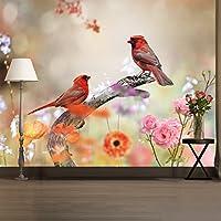 オレンジ鳥壁壁画ピンク花写真壁紙で使用可能な女の子寝室ホームデコレーション8サイズ 05. X-Large 216cm (W) x 220cm (H)